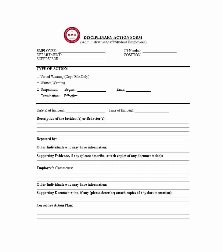 Free Printable Employee Disciplinary forms Beautiful 40 Employee Disciplinary Action forms Template Lab