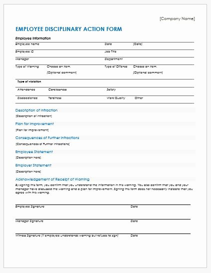 Free Printable Employee Disciplinary forms Elegant Disciplinary Action forms Templates for Ms Word