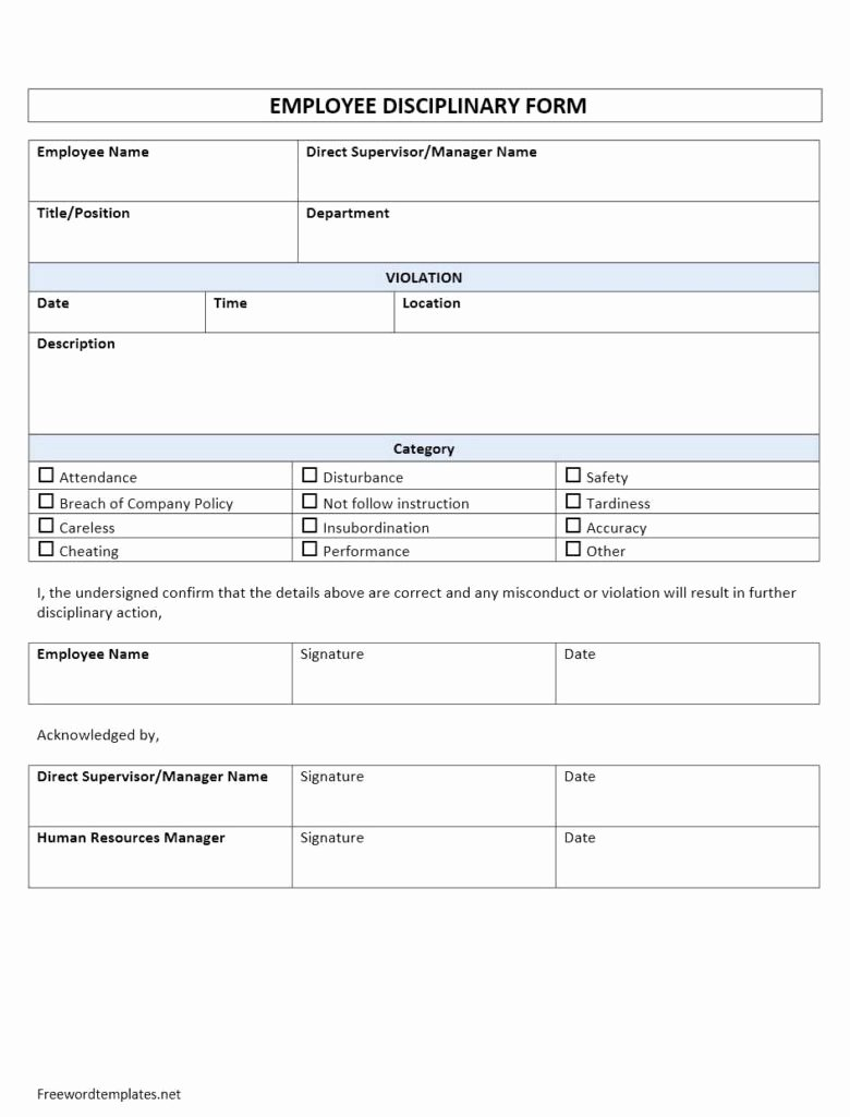 Free Printable Employee Disciplinary forms Fresh Employee Disciplinary form