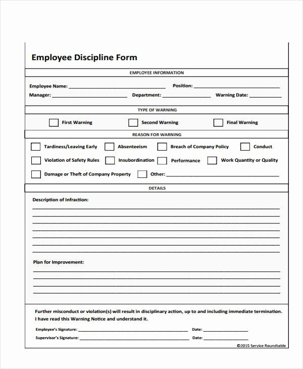 Free Printable Employee Disciplinary forms Inspirational Employee Write Up form Free Printable