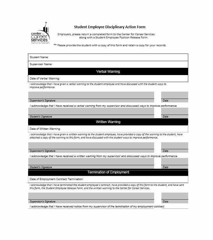 Free Printable Employee Disciplinary forms Lovely 40 Employee Disciplinary Action forms Template Lab