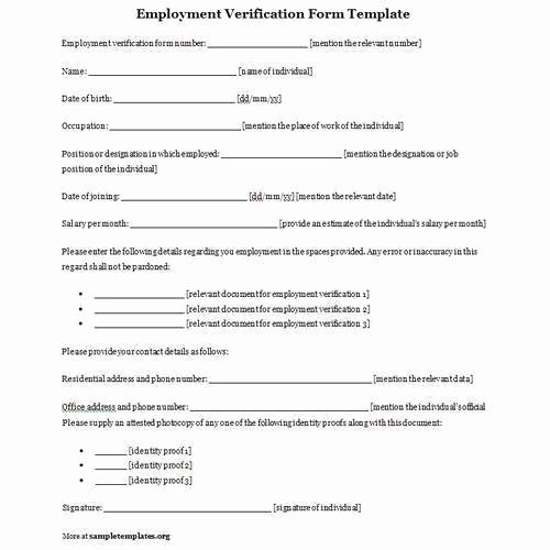 Free Printable Employment Verification Letter Best Of Employment Verification forms Template Pics – Employee