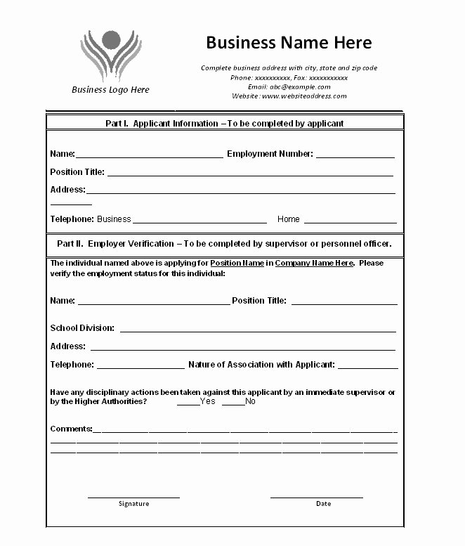Free Printable Employment Verification Letter Inspirational Free Printable Verification Employment form