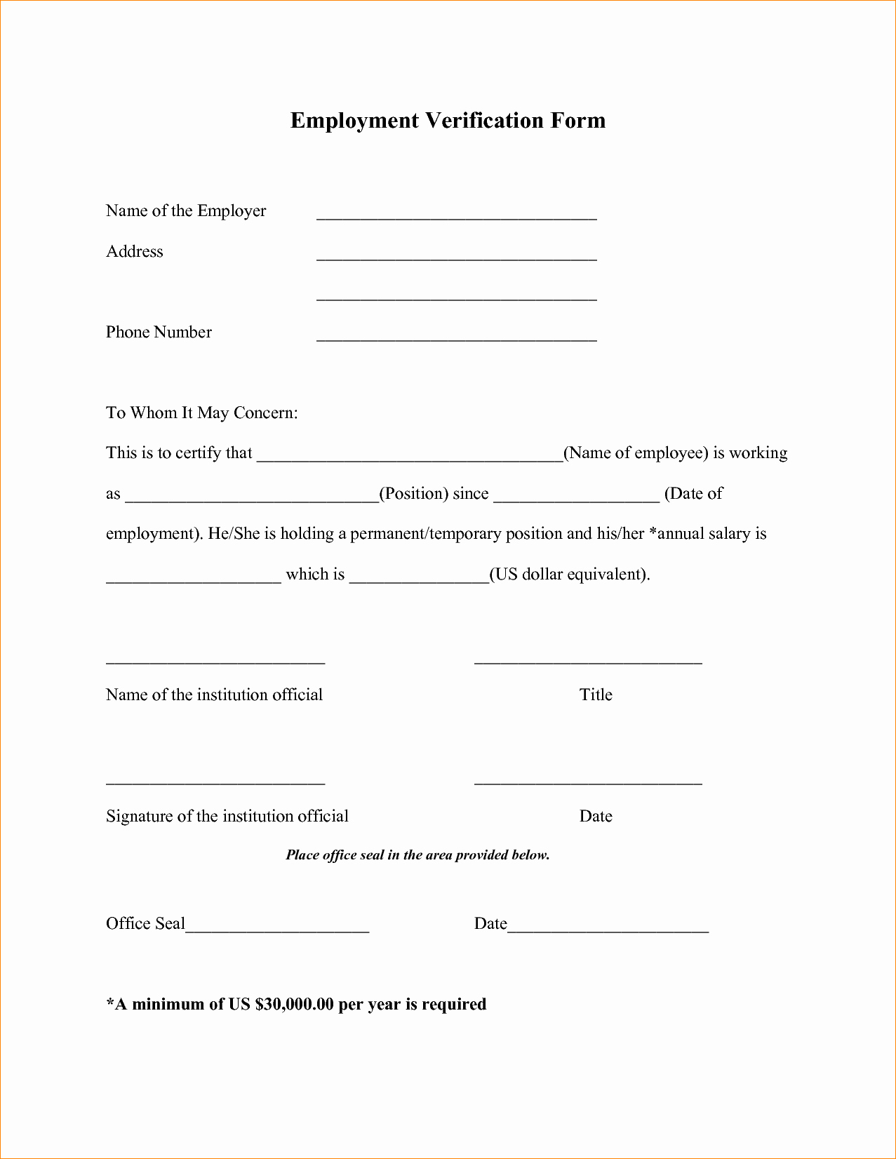 Free Printable Employment Verification Letter New 4 Employment Verification form Template