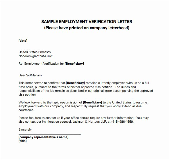Free Printable Employment Verification Letter Unique Employment Verification Letter 14 Download Free