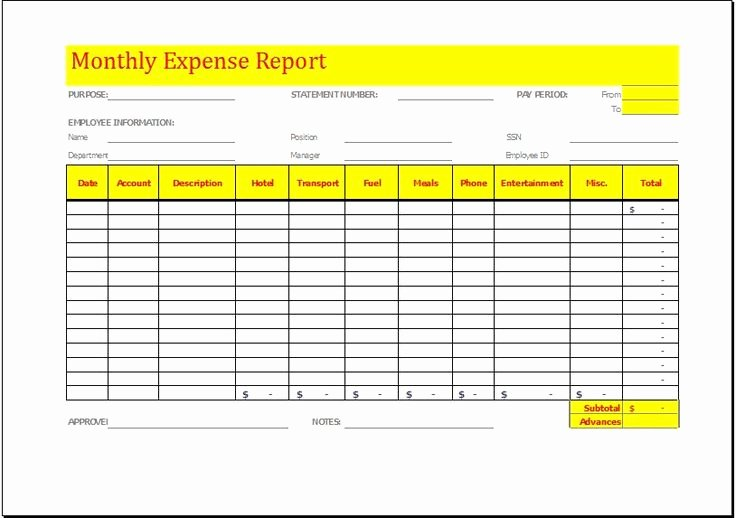 Free Printable Expense Log Fresh Monthly Expense Report Template Download at