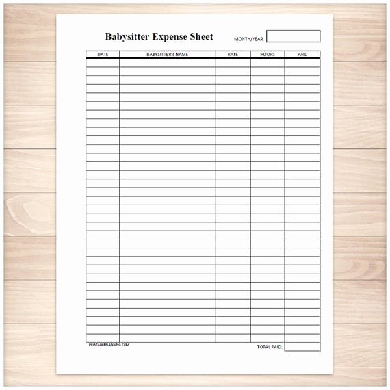 Free Printable Expense Log New Printable Babysitter Expense Sheet Monthly Babysitter or