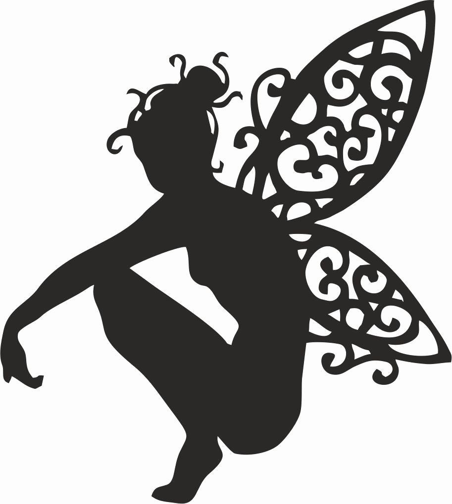 Free Printable Fairy Silhouette Beautiful Die Cut Outs Silhouette Crouching Fairy topper Shapes X 6