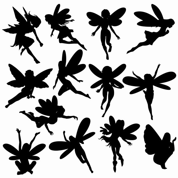 Free Printable Fairy Silhouette Beautiful Fairy Magic Creature Silhouette Clip Art Vector Vector