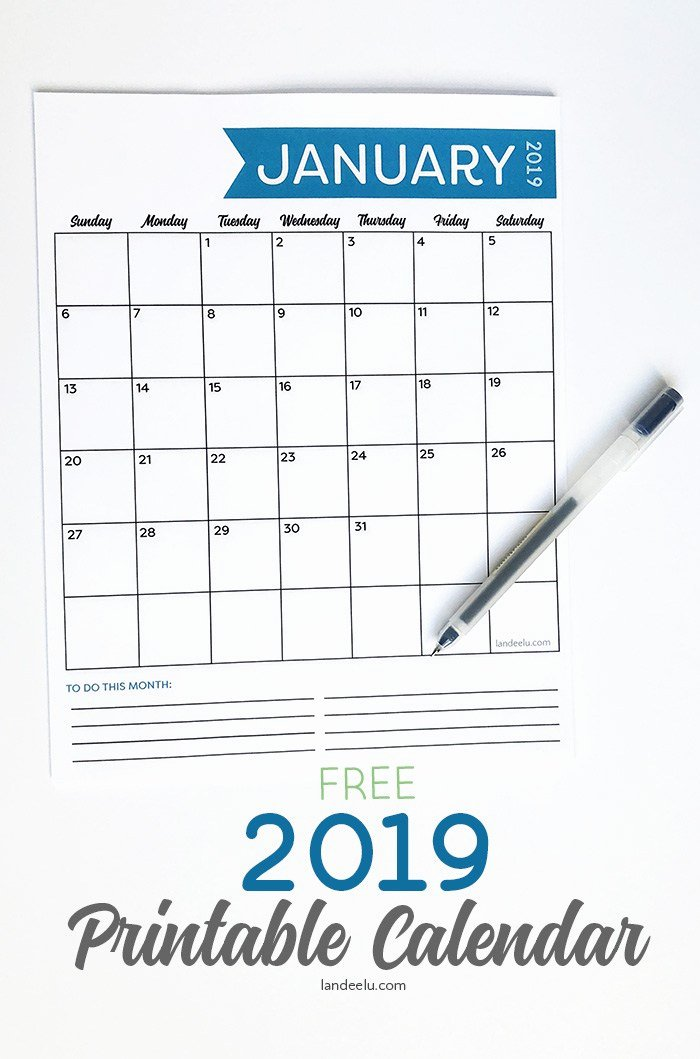 Free Printable Family Calendar Awesome Free 2019 Printable Calendar Landeelu