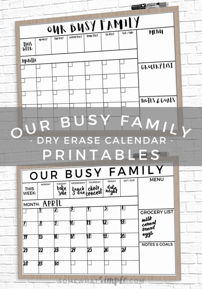 Free Printable Family Calendar Beautiful Dry Erase Family Calendar Printable Easy Tutorial