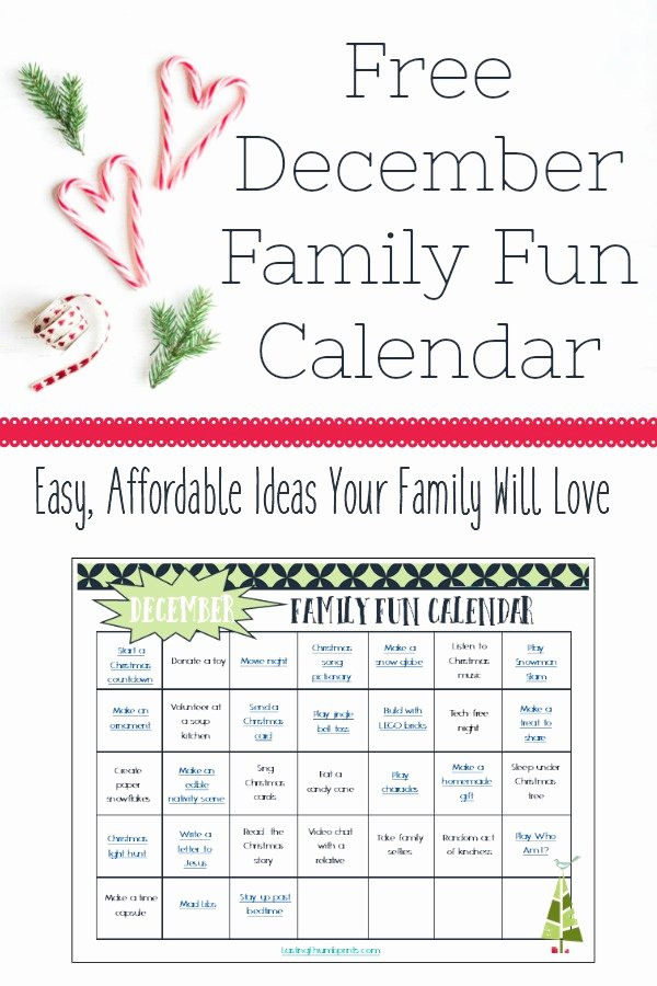 Free Printable Family Calendar Elegant Free Printable December Family Fun Calendar Money Saving