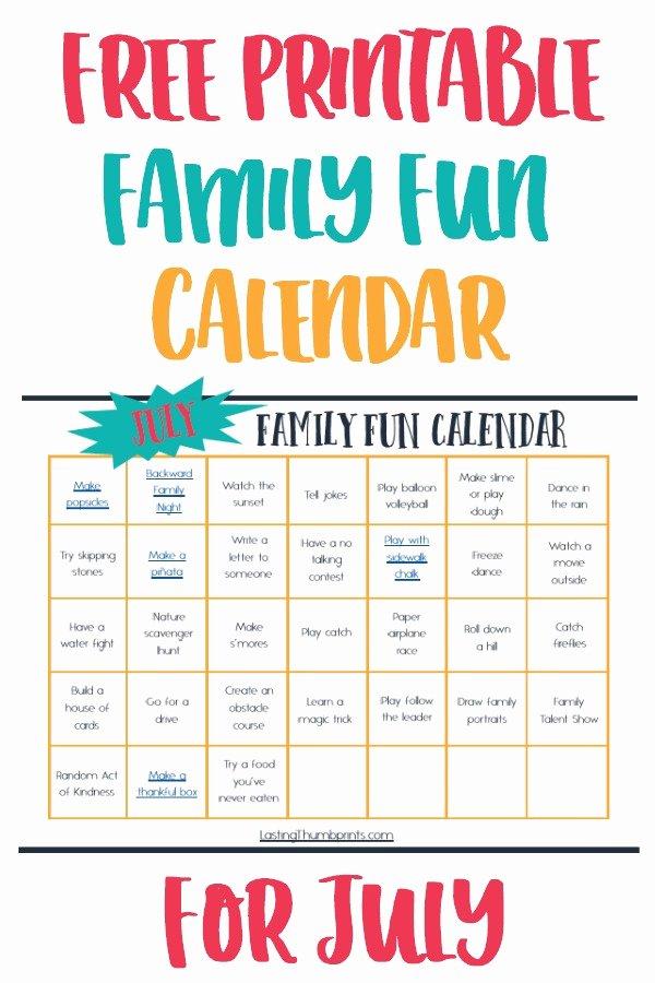 Free Printable Family Calendar Elegant Free Printable July Family Fun Calendar