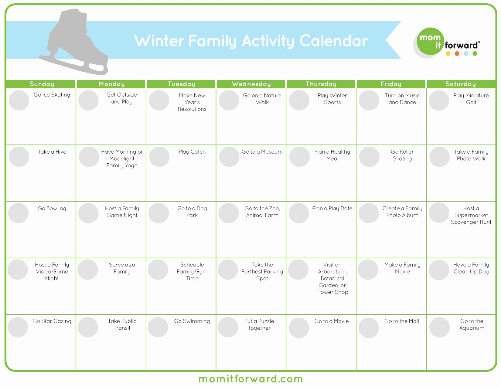 Free Printable Family Calendar Elegant Free Printable Winter Family Activity Calendar Mom It