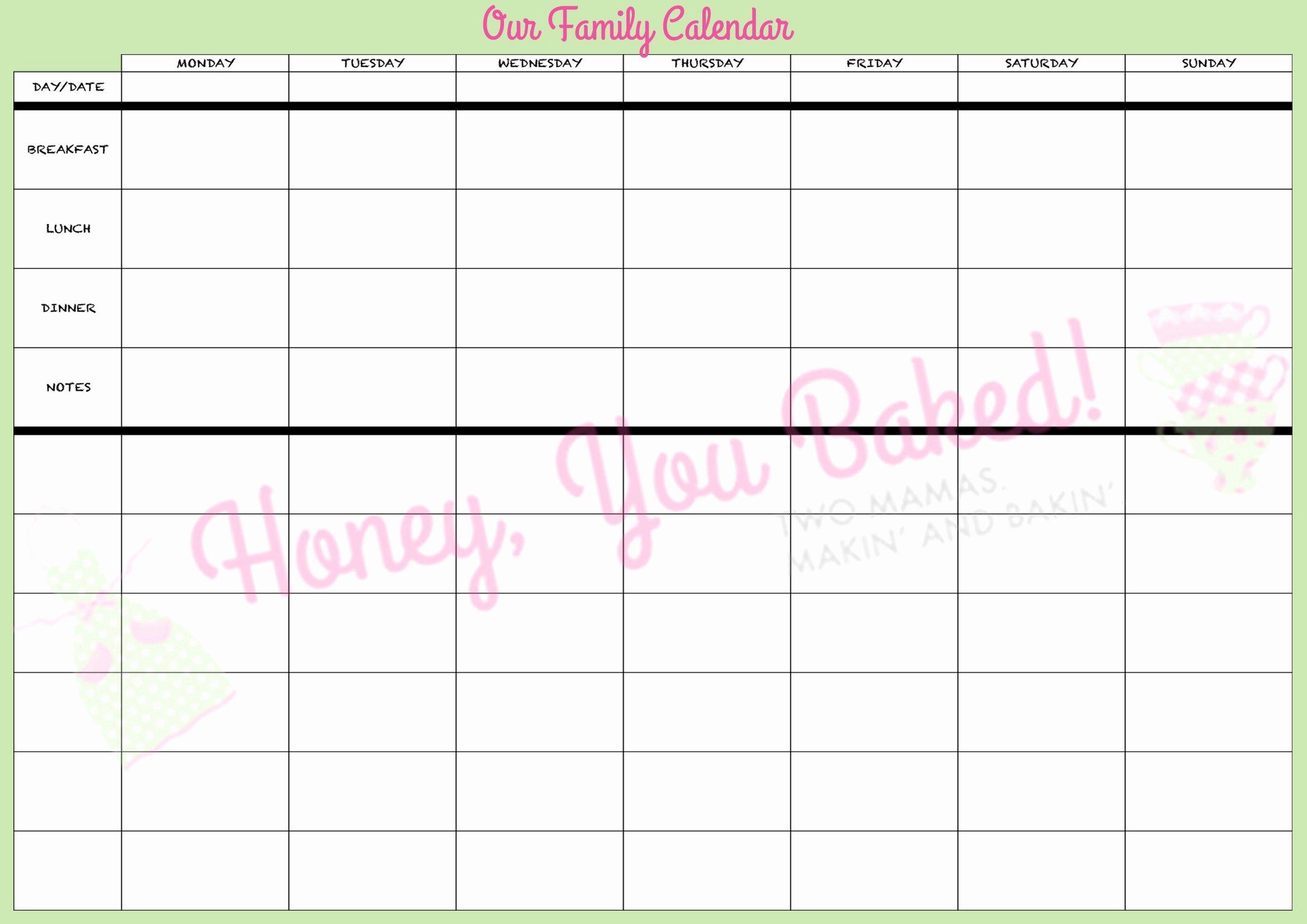 Free Printable Family Calendar New Free Printable Family Planner 2015 – Jowo