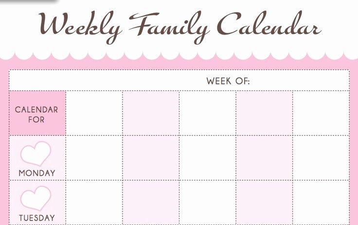 Free Printable Family Calendar New New 806 Printable Family Weekly Calendar