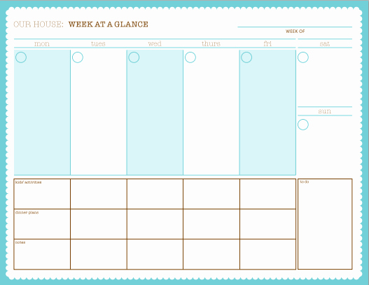 Free Printable Family Calendar Unique Week at A Glance Free Printable