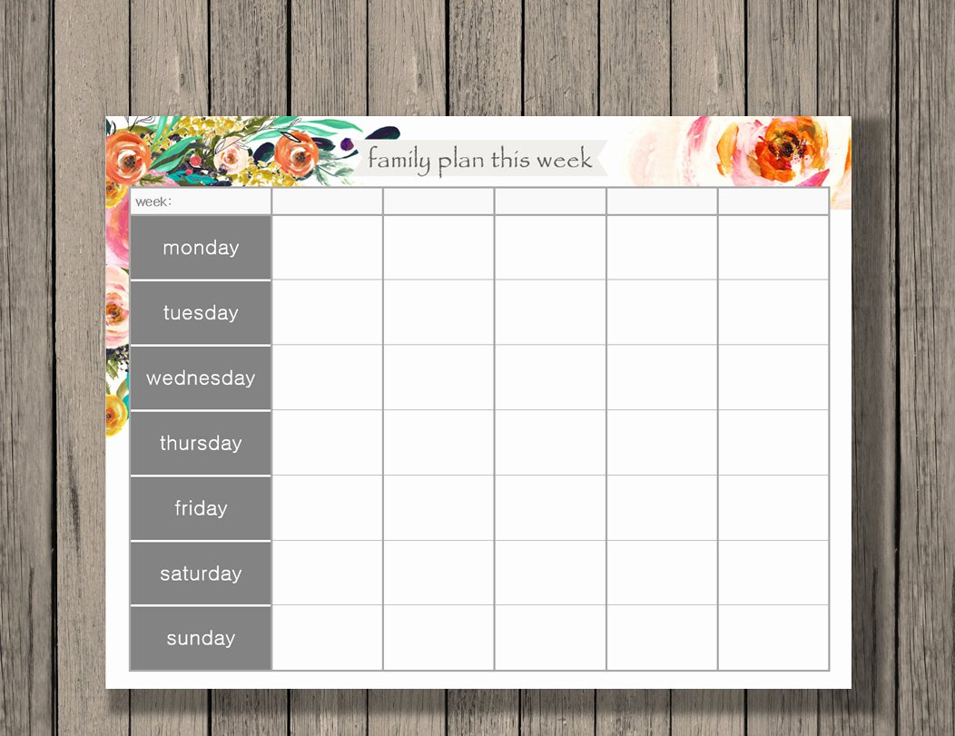 Free Printable Family Calendar Unique Weekly Calendar Printable Family Plan Printable Schedule