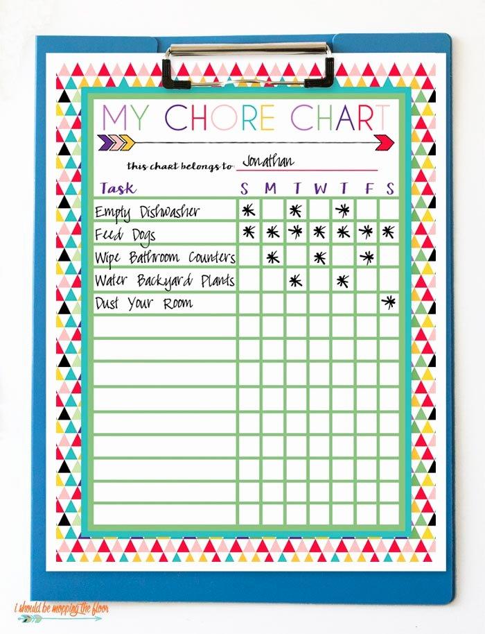 Free Printable Family Chore Charts Fresh Free Printable Chore Charts