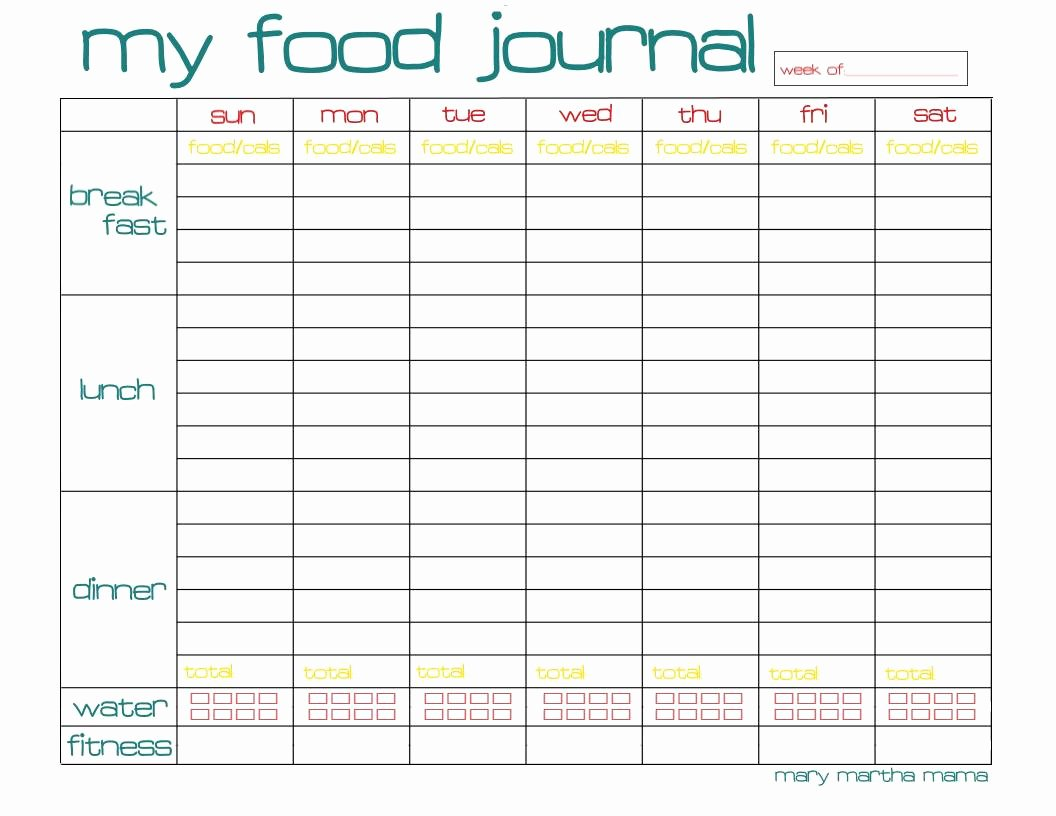 Free Printable Food Journal Elegant Free Food Journal Printable Healthy Mama Week 29 – Mary