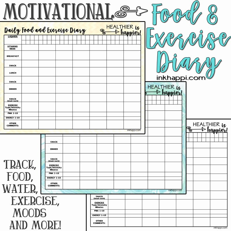 Free Printable Food Journal Elegant Motivational Food and Exercise Diary Free Printable