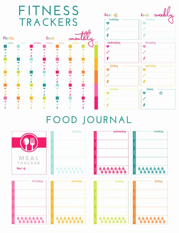 Free Printable Food Journal Lovely Printable Fitness Trackers and Food Journal