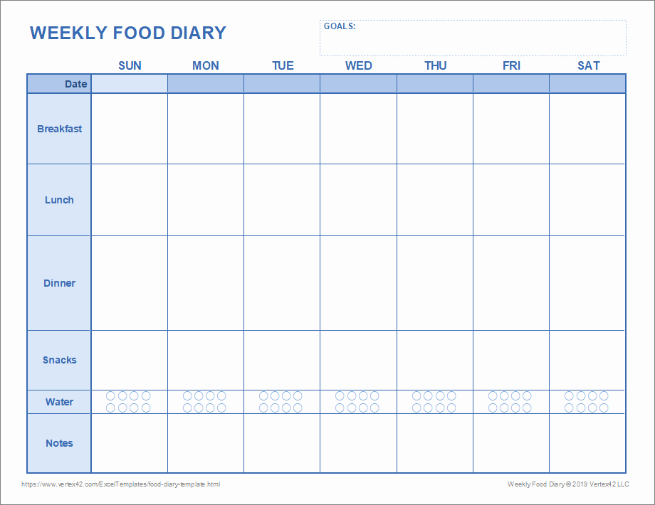 Free Printable Food Journal Luxury Best 3 Food Diary Template Pdf Excel You Calendars