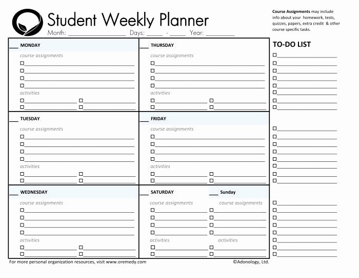 Free Printable Homework Planner Awesome Day Planner Printable
