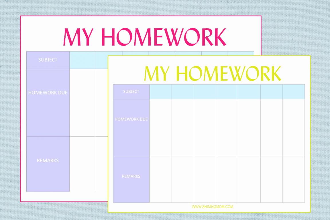 Free Printable Homework Planner Elegant Free Printable Homework Planner