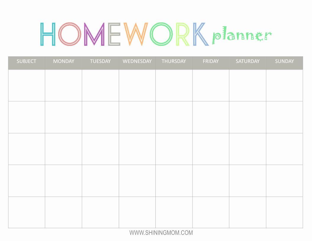 Free Printable Homework Planner Inspirational Free Printable Homework Planner