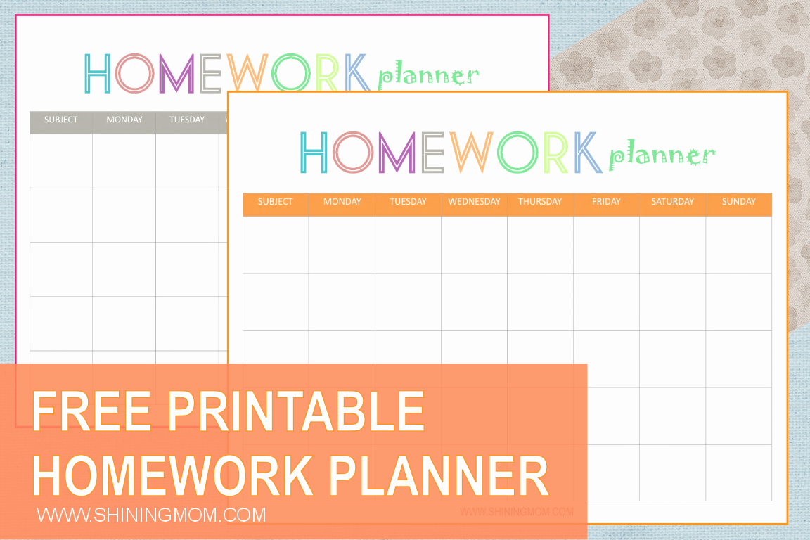 Free Printable Homework Planner Luxury Free Printable Homework Planner