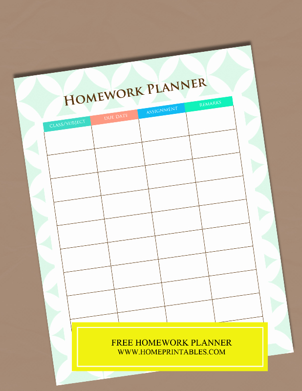 Free Printable Homework Planner New A Free Printable Homework Planner It S Pretty Home