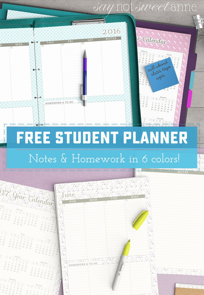 Free Printable Homework Planner New Free Printable Student Planner Sweet Anne Designs