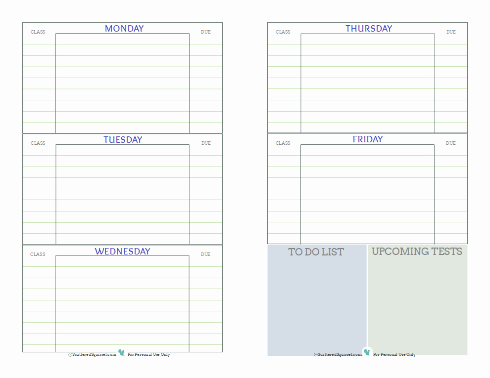 Free Printable Homework Planner New Student Planner Printables Scattered Squirrel
