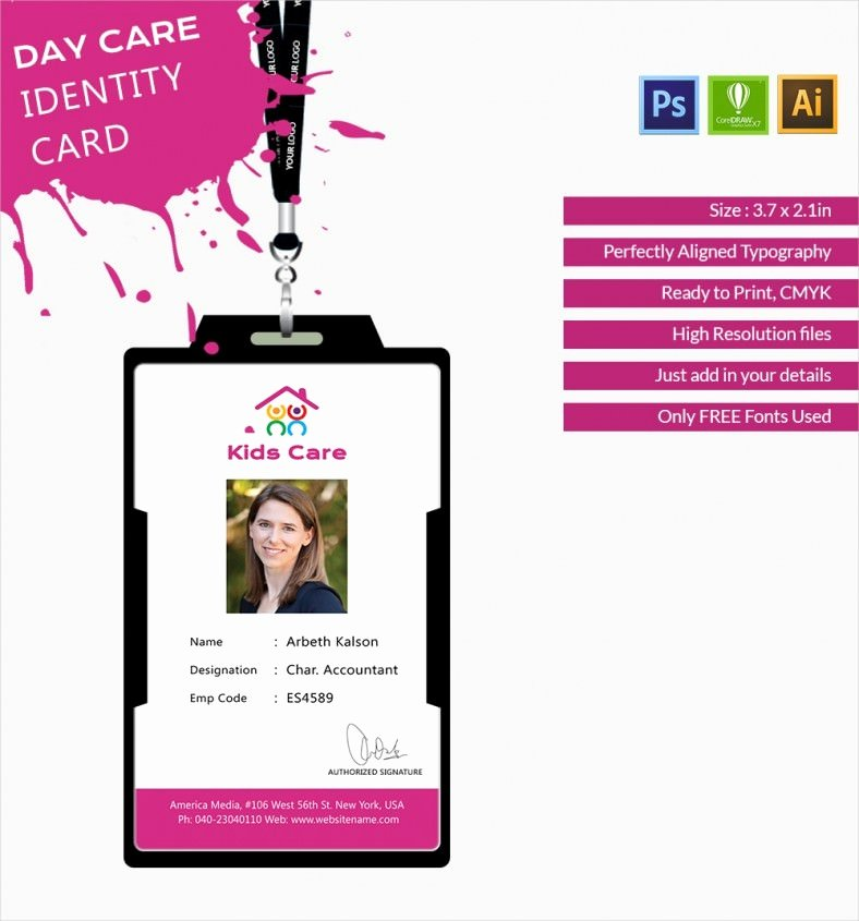 Free Printable Id Cards Awesome Fabulous Day Care Identity Card Template