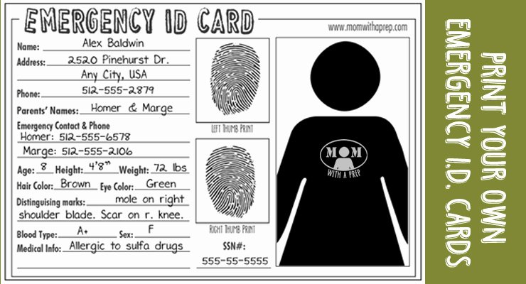 Free Printable Id Cards Unique Emergency Id Cards Free Download Mom with A Prep