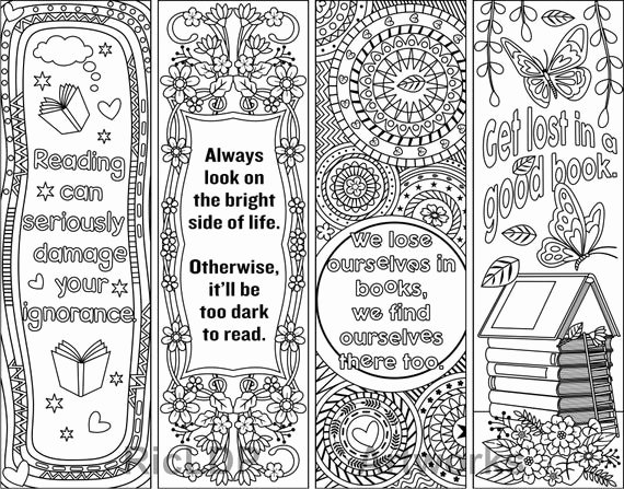 Free Printable Inspirational Bookmarks New Printable Coloring Bookmark Templates with Four Designs Plus