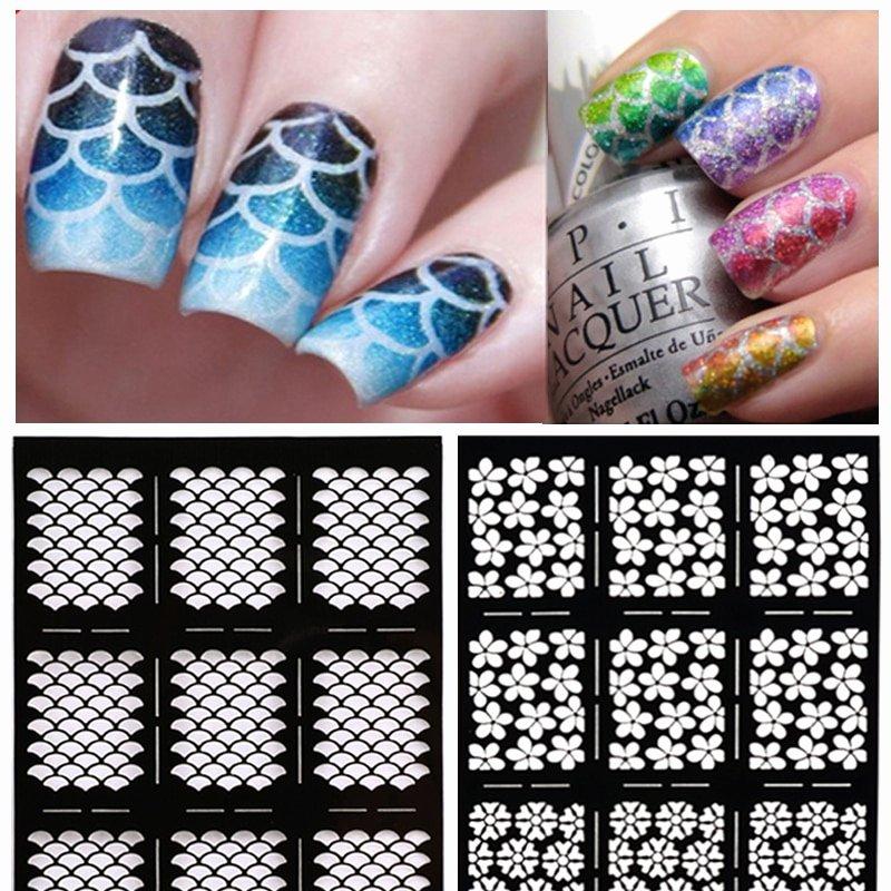 Free Printable Nail Art Stencils Luxury Hot 1sheet Nail Vinyls Irregular Grid Pattern Stamping