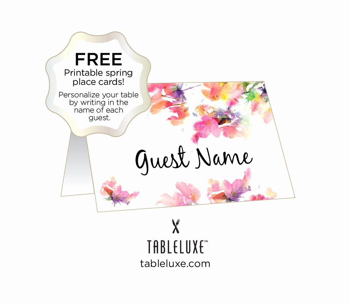 Free Printable Name Cards New Tableluxe Printable Spring Place Cards