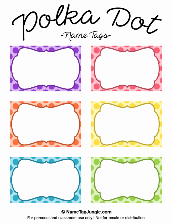 Free Printable Name Cards Unique Free Printable Polka Dot Name Tags the Template Can Also