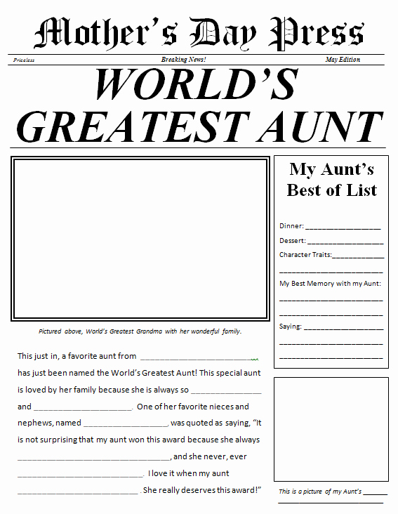 Free Printable Newspaper Template Best Of Mother S Day Made Easy 3 Quick Gifts