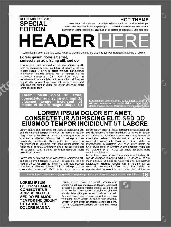 Free Printable Newspaper Template Elegant 52 Printable Newspaper Templates Psd Apple Pages