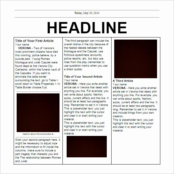 Free Printable Newspaper Template New School Newspaper Templates 11 Free Eps Documents