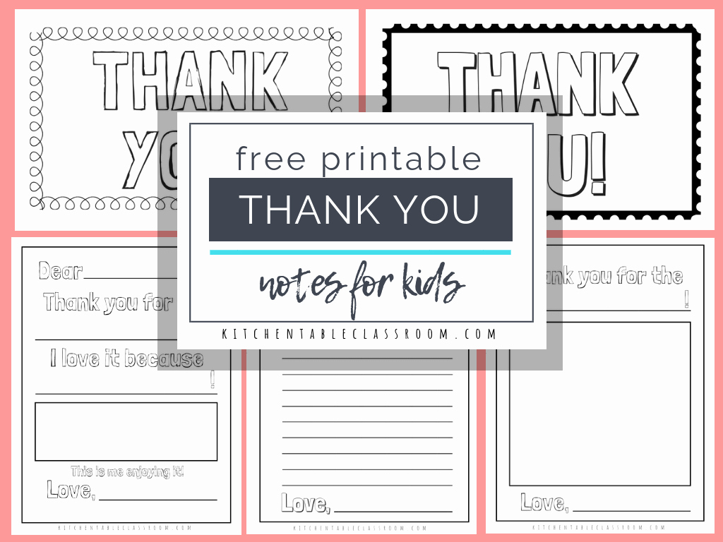Free Printable Note Cards Template Beautiful Printable Thank You Cards for Kids the Kitchen Table