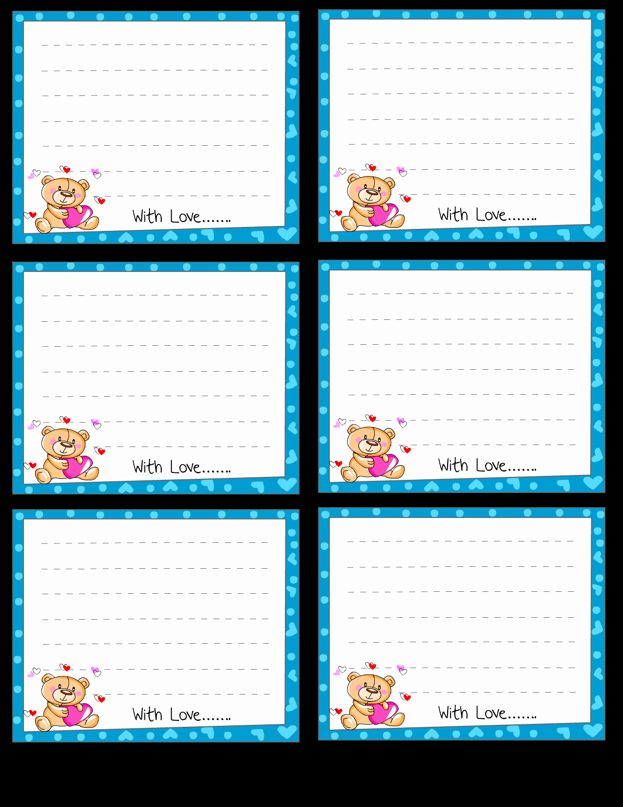 Free Printable Note Cards Template Fresh Free Printable Love Notes Stationery