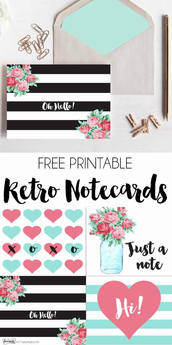 Free Printable Note Cards Template Fresh Free Printable Retro Notecards Capturing Joy with