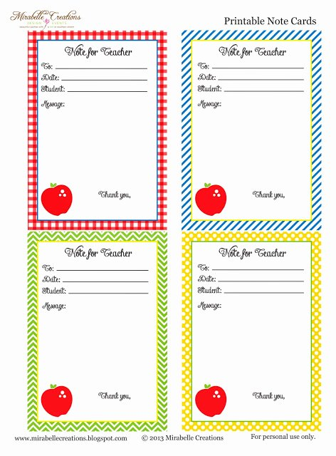 Free Printable Note Cards Template Lovely Back to School Free Printable Note for Teacher Cards