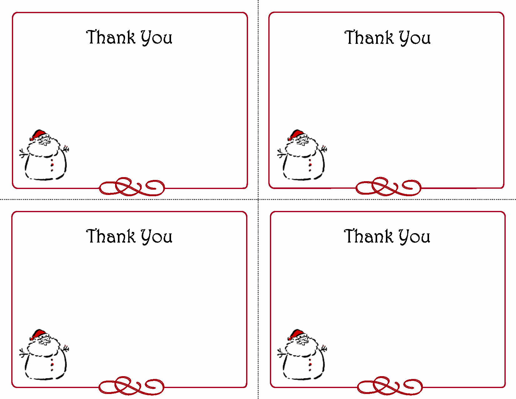 Free Printable Note Cards Template Lovely Printable Christmas Thank You Card Templates