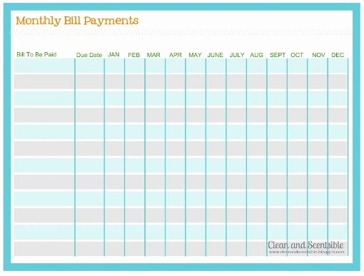 Free Printable Payment Log Awesome How to organize Paperwork and Bills Clean and Scentsible