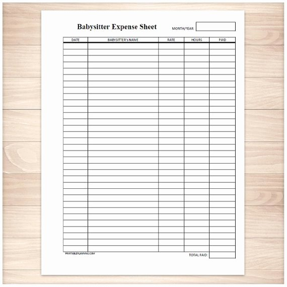 Free Printable Payment Log Fresh Printable Babysitter Expense Sheet Monthly Babysitter or